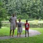 Joe, Luke and Pharaoh in front of the pond