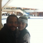 Ice skating at the mall.  A five minute walk.