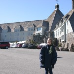 Rylee in front of the Overlook Hotel (Timberline Hotel)