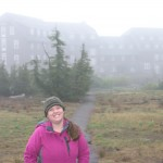 In front of the cool historic Crater Lake Lodge