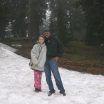 Enjoying the snow in front of the lodge