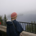 The awesome lodge balcony on the cliff above the lake